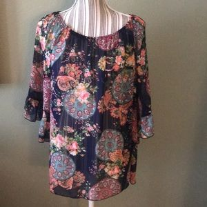 Sheer floral lightweight blouse